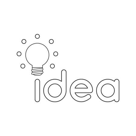 Vector icon concept of idea word with glowing light bulb. Black outlines. Фото со стока - 122533210