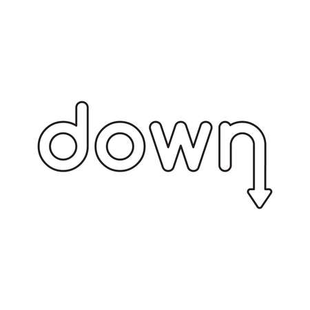 Vector icon concept of down word with arrow moving down. Black outlines.
