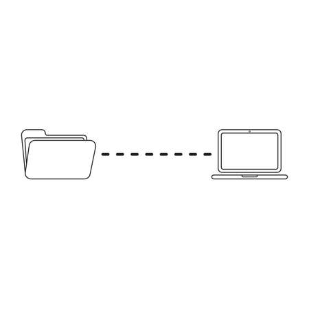 Vector icon concept of file transfer between folder and laptop. Black outlines.