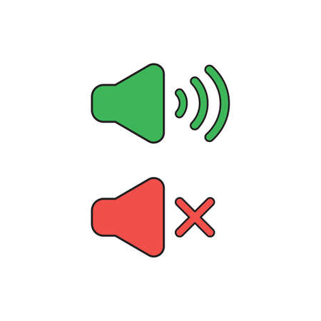 Vector icon concept of green and red speaker sound symbols on and off.