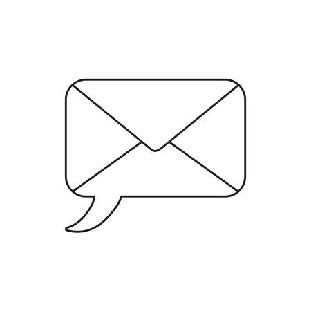 Vector icon concept of speech bubble closed envelope. Black outlines.