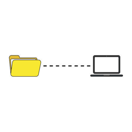Vector icon concept of file transfer between open folder and laptop.