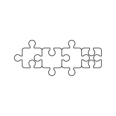 Vector icon concept of jigsaw puzzle pieces connected to each other. Black outlines. Illustration