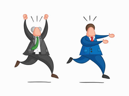Hand-drawn vector illustration businessman worker runs away from angry boss. Colored and colored outlines.