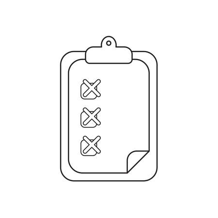Vector icon concept of clipboard with x marks on paper. Black outlines.