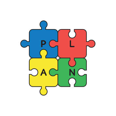Vector icon concept of four part jigsaw puzzle pieces with plan word connected to each other.  Çizim
