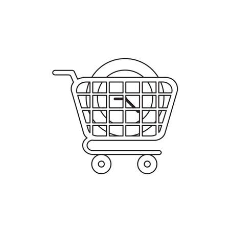 Vector icon concept of clock in shopping cart. Black outlines. Ilustração