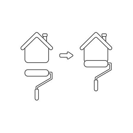 Concepto de icono de vector de casa de pintura de cepillo de pintura de rodillo amarillo. Contornos negros. Ilustración de vector