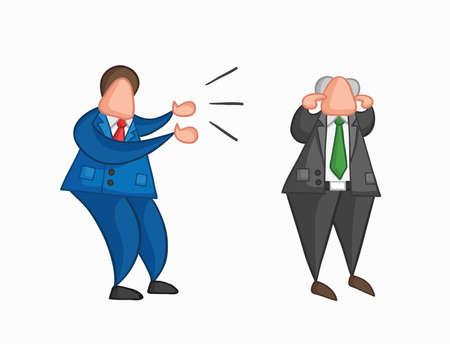 Handgezeichnete Vektor-Illustration wütend Geschäftsmann Arbeiter schreien Chef und Chef schließt seine Ohren. Farbige und farbige Konturen. Vektorgrafik
