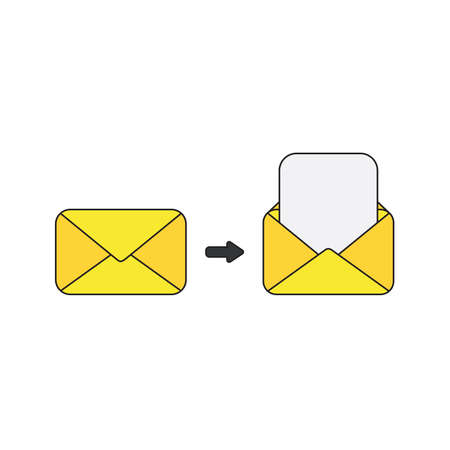 Vector icon concept of yellow closed and open envelopes with blank paper.