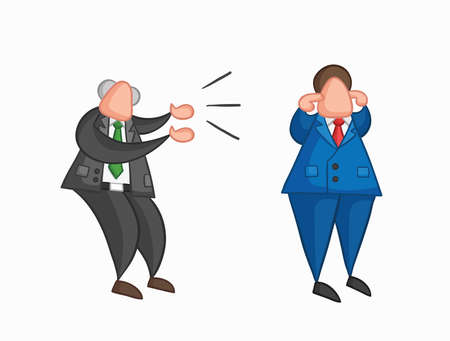 Hand-drawn vector illustration angry boss yelling at businessman worker and he is closing his ears. Colored and colored outlines. Çizim