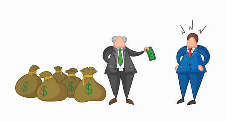 Hand-drawn vector illustration boss has a lot of money with sacks and pays one money to his businessman worker. Colored and colored outlines.