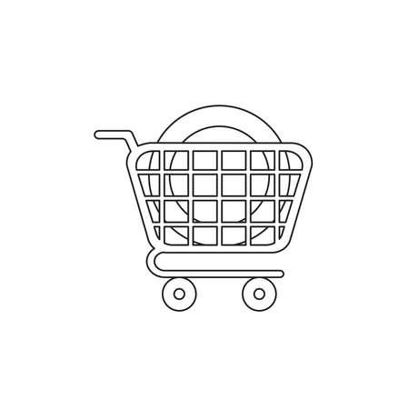 Vector icon concept of dollar money coin in shopping cart. Black outlines.