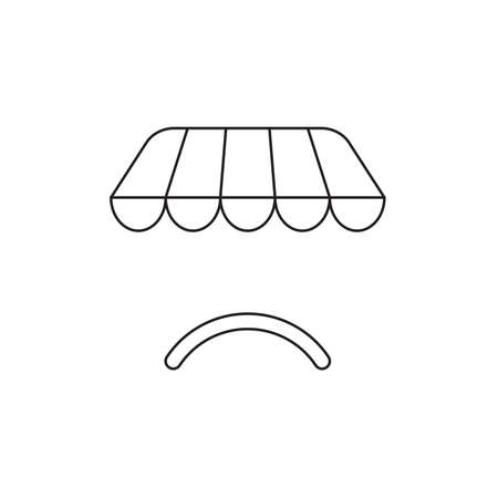 Vector icon concept of shop store awning with sulking mouth. Black outlines.
