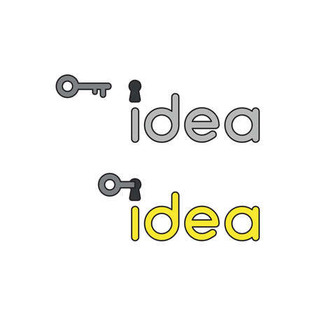Vector icon concept of grey idea word with keyhole and key unlock, idea word becomes yellow.