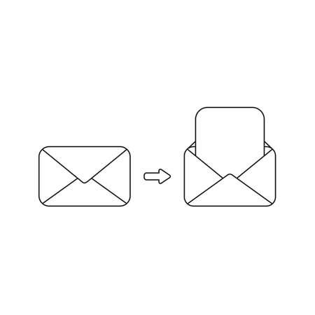 Concept d'icône vectorielle d'enveloppes fermées et ouvertes avec du papier vierge. Contours noirs.