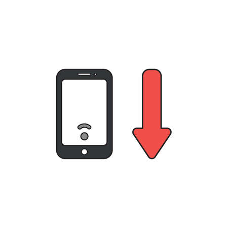 Vector icon concept of black smartphone with low wireless wifi signal and red arrow moving down.