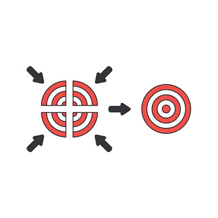 Vector icon concept of four part red and white bulls eye and unite.  Ilustrace