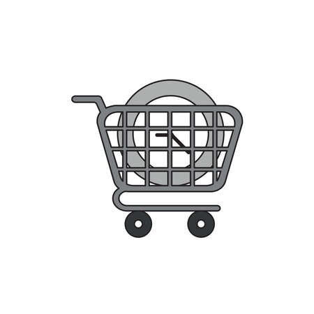 Vector icon concept of clock time in shopping cart.