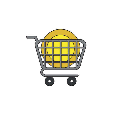 Vector icon concept of yellow dollar moeny coin in grey shopping cart.