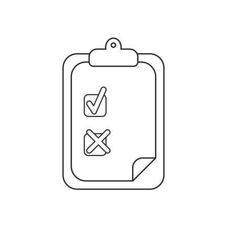 Vector icon concept of clipboard with check mark and x mark on paper. Black outlines.