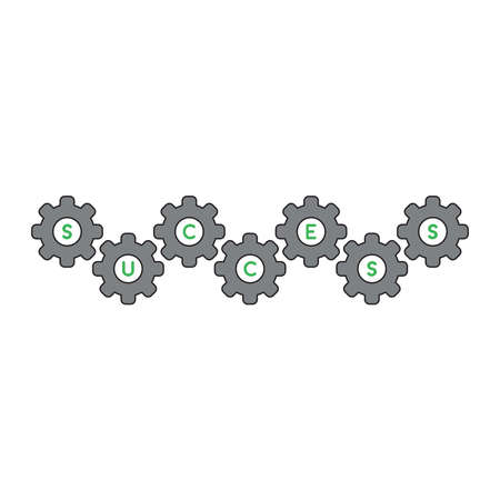 Vector icon concept of green success word inside grey gears.