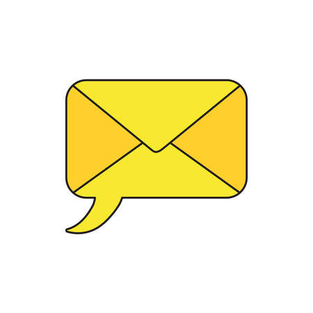 Vector icon concept of yellow speech bubble closed envelope.  Illustration