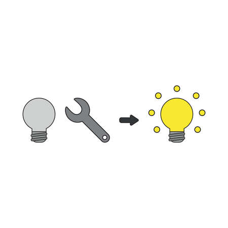 Vector icon concept of grey light bulb with spanner and light bulb glowing.  Illustration