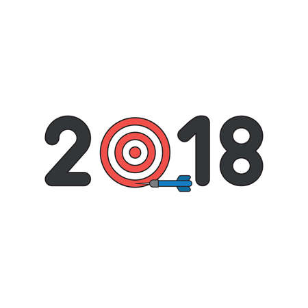Vector icon concept of black 2018 word with bulls eye and miss the target with dart.