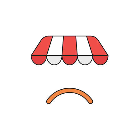 Vector icon concept of shop store awning with orange sulking mouth.
