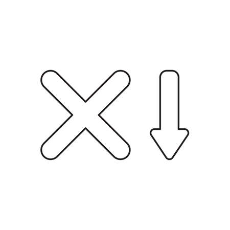 Vector icon concept of x mark with arrow moving down. Black outlines. Иллюстрация