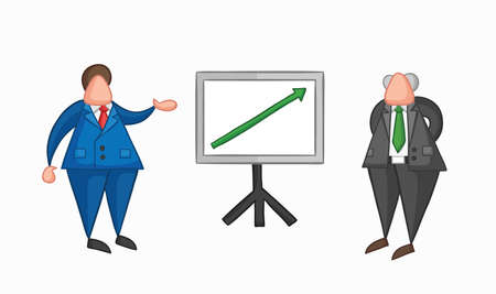 Hand-drawn vector illustration businessman worker showing sales chart arrow moving up and boss is happy. Colored and colored outlines. Standard-Bild - 122533340