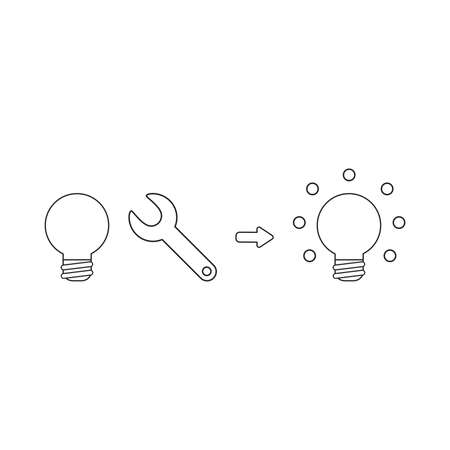 Vector icon concept of light bulb with spanner and light bulb glowing. Black outlines.