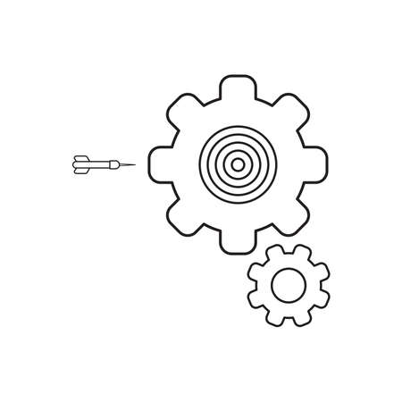 Vector icon concept of bulls eye inside gear with dart. Black outlines. Illustration