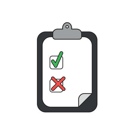 Vector icon concept of clipboard with paper and check mark and x mark.