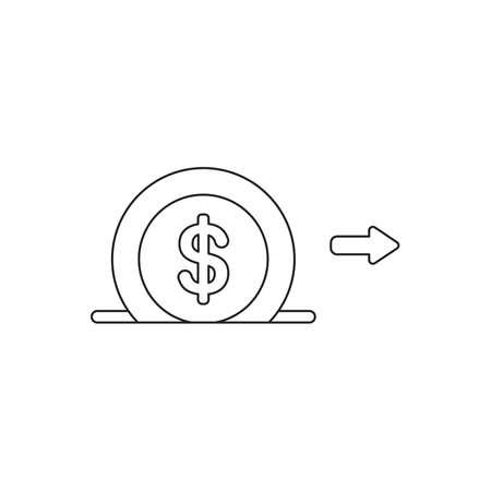 Vector icon concept of dollar money coin into moneybox hole. Black outlines.