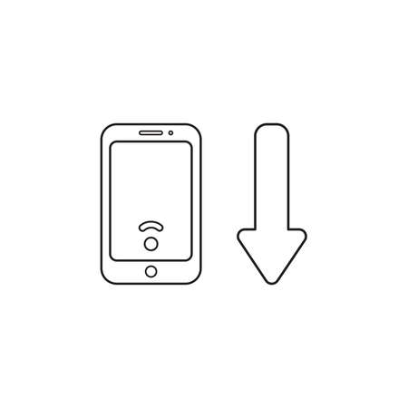 Vector icon concept of smartphone with low wireless wifi signal and arrow moving down. Black outlines.