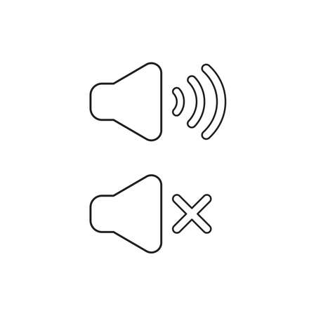 Vector icon concept of speaker sound symbols on and off. Black outlines.