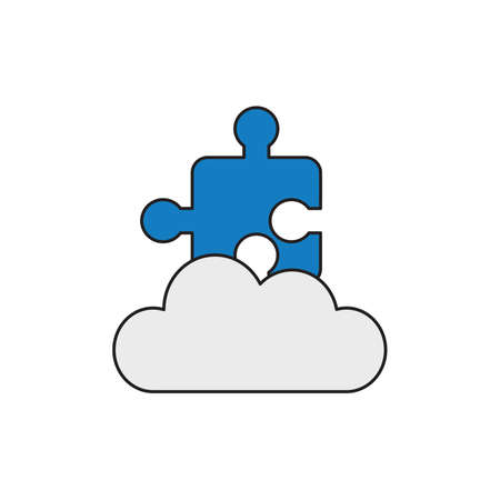 Vector icon concept of blue jigsaw puzzle piece on grey cloud.  Illustration