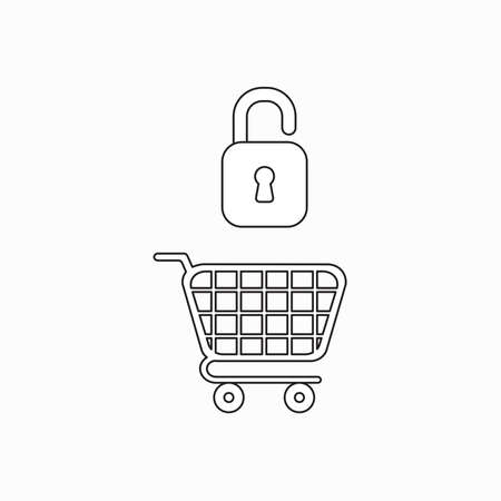 Vector icon concept of opened padlock over shopping cart. Black outlines. Çizim