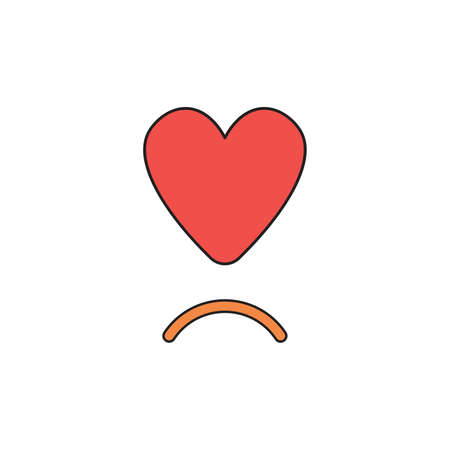 Vector icon concept of red heart with sulking mouth.