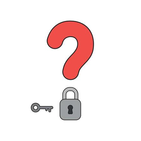 Vektorikonenkonzept des roten Fragezeichens mit grauem geschlossenem Vorhängeschloss und Schlüssel. Vektorgrafik