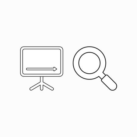 Vector icon concept of sales chart arrow moving down with magnifying glass. Black outlines.