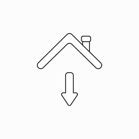 Vector icon concept of arrow moving down under house roof. Black outlines.