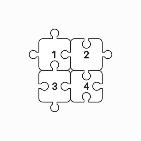 Vector icon concept of four puzzle jigsaw pieces connected. Black outlines.