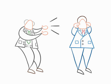 Hand-drawn vector illustration angry boss yelling at businessman worker and he is closing his ears. White colored and colored outlines.
