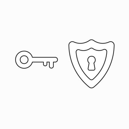 Vector icon concept of keyhole inside shield with key. Black outlines.