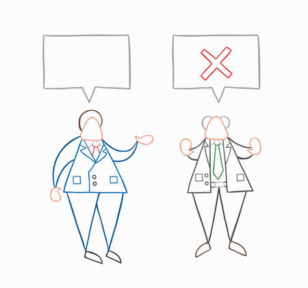 Hand-drawn vector illustration businessman worker speaks with boss and boss rejects. White colored and colored outlines. Vettoriali