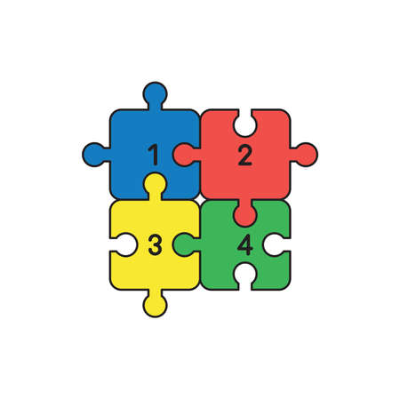 Vector icon concept of four colored puzzle jigsaw pieces connected.
