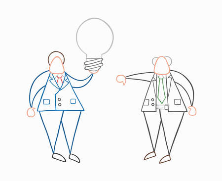 Hand-drawn vector illustration businessman worker holding grey light-bulb, has a bad idea and boss showing thumbs-down. White colored and colored outlines.